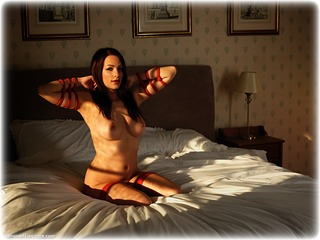 Bondage photo pic picture Penny Lee ballgag, rope bondage, barefoot, bedroom, brunette, nude, ungagged, frogtie