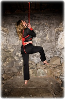 Bondage photo pic picture Penny Lee ballgag, rope bondage, barefoot, satin, blouse, silk, brunette, dungeon, ungagged