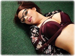 Bondage photo pic picture Penny Lee rope bondage, barefoot, glasses, bit gag, blouse, hogtie, shoes, skirt, brunette, business wear, lingerie, pencil skirt, ungagged