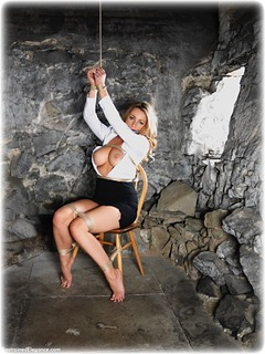 Bondage photo pic picture Penny Lee rope bondage, barefoot, blouse, brunette, skirt, business wear, cloth gag, dungeon, topless, ungagged