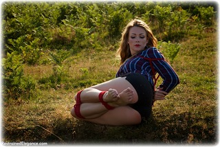 Bondage photo pic picture Penny Lee barefoot, rope bondage, blouse, brunette, ungagged