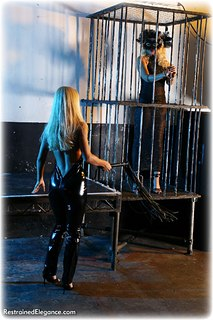 Bondage photo pic picture Alexandra and Petra Morgan girlgirl, handcuffs, shoes, cage, pvc