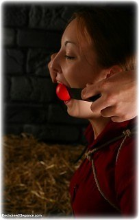 Bondage photo pic picture Pling ballgag, rope bondage, barefoot, satin, blouse, silk