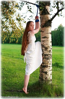 Bondage photo pic picture Pling ballgown, rope bondage, barefoot, suspension, outdoor