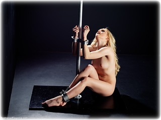 Bondage photo pic picture Rachelle Summers barefoot, satin, gown, handcuffs, blonde, historical, leg irons, medieval, metal bondage, nude, corporal punishment, ungagged, whipping