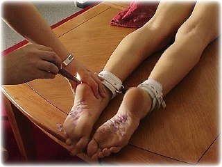Bondage photo pic picture Ariel Anderssen ballgown, barefoot, cloth gag, foot torture, hot wax, humiliation, leather bondage, nude, rope bondage, satin, silk, slave training