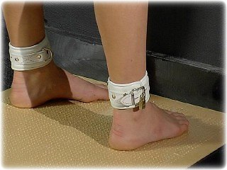 Bondage photo pic picture Ariel Anderssen barefoot, collar, foot torture, humiliation, leather bondage, nude, slave training