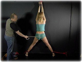 Bondage photo pic picture Ariel Anderssen barefoot, humiliation, cane, slave training, corporal punishment, whipping, riding crop