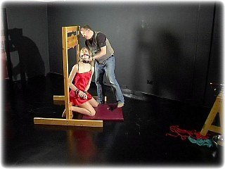 Bondage photo pic picture Ariel Anderssen ballgag, barefoot, bastinado, satin, humiliation, slave training, corporal punishment, foot torture, whipping, gag