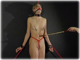 Bondage photo pic picture Ariel Anderssen ballgag, barefoot, collar, crotch rope, humiliation, leather bondage, nipple clamps, nude, riding crop, rope bondage, slave training