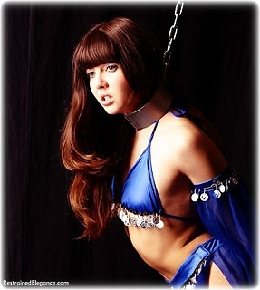 Bondage photo pic picture Rosaleen Young barefoot, harem, shackles, leg irons, chains, metal bondage, collar