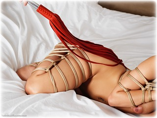 Bondage photo pic picture Roxy Mendez rope bondage, barefoot, bedroom, brunette, cloth gag, nude, ungagged, whipping, frogtie