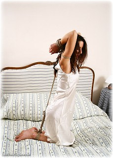 Bondage photo pic picture Sabrina rope bondage, barefoot, satin, silk