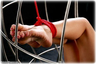 Bondage photo pic picture Samantha Olivia-Paige barefoot, rope bondage, cage, suspension, topless