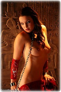 Bondage photo pic picture Samantha Olivia-Paige harem, shackles, leg irons, chains, metal bondage, collar, nude, topless