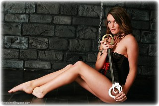 Bondage photo pic picture Samantha Olivia-Paige barefoot, handcuffs, chains, lingerie, spreader bar, metal bondage, collar