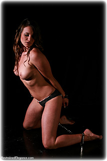 Bondage photo pic picture Samantha Olivia-Paige barefoot, handcuffs, leg irons, lingerie, metal bondage, topless