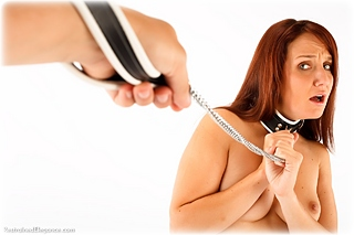 Bondage photo pic picture Sammie B barefoot, leather bondage, slave training, chains, strappado, collar, nude