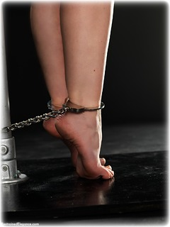 Bondage photo pic picture Sammie B barefoot, satin, handcuffs, blouse, silk, humiliation, skirt, brunette, business wear, leg irons, lingerie, metal bondage, tape gag, nude, pencil skirt, ungagged