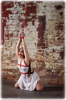 Bondage photo pic picture Sammie B ballgag, gag, rope bondage, barefoot, dress, ungagged