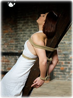 Bondage photo pic picture Sammie B rope bondage, barefoot, bit gag, dress