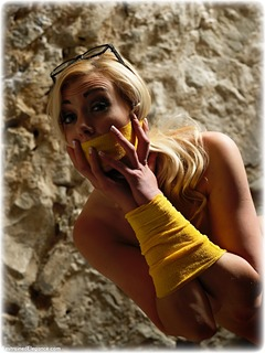 Bondage photo pic picture Sapphire barefoot, blonde, nude, tape gag, dungeon, vet wrap
