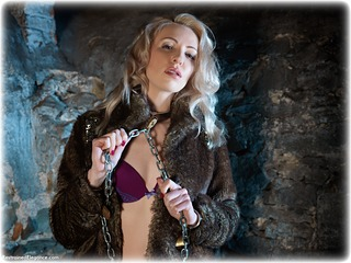 Bondage photo pic picture Sara W fur coat, barefoot, blonde, shackles, sm factory, leg irons, chains, lingerie, metal bondage, collar, dungeon, ungagged