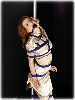 Bondage photo pic picture Scarlot Rose ballgag, rope bondage, barefoot, satin, humiliation, silk, chinese dress, lingerie, clothes cut off, pencil skirt