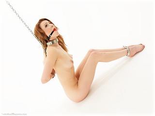 Bondage photo pic picture Scarlot Rose ballgag, barefoot, shackles, leg irons, chains, metal bondage, collar, nude, ungagged, reverse prayer