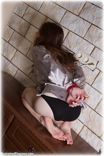Bondage photo pic picture Sharlize rope bondage, barefoot, satin, blouse, silk, brunette, lingerie, tape gag, ungagged