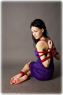 Bondage photo pic picture Sofy rope bondage, barefoot, satin, hogtie, silk, ungagged, reverse prayer