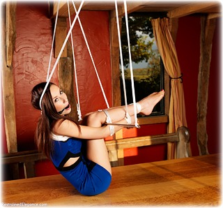 Bondage photo pic picture Ariel Anderssen and Sophia Smith ballgag, rope bondage, barefoot, brunette, spreader bar, dress, ungagged