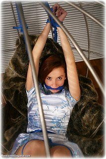 Bondage photo pic picture Sophia Smith rope bondage, barefoot, satin, cage, silk, chinese dress, cloth gag