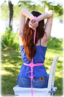 Bondage photo pic picture Sophia Smith rope bondage, barefoot, outdoor