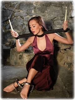 Bondage photo pic picture Sophia Smith ballgown, barefoot, satin, silk, brunette, leg irons, metal bondage, dungeon, ungagged, yoke