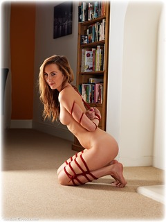 Bondage photo pic picture Sophia Smith rope bondage, barefoot, brunette, nude, ungagged, frogtie