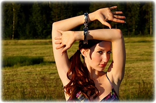 Bondage photo pic picture Sophia Smith ballgown, barefoot, handcuffs, silk, leg irons, metal bondage, outdoor