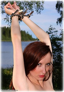 Bondage photo pic picture Sophia Smith barefoot, handcuffs, humiliation, shackles, leg irons, nude, outdoor