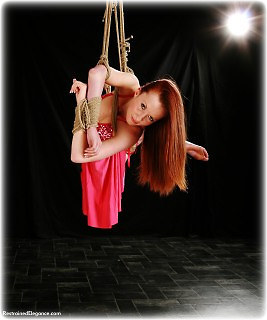 Bondage photo pic picture Sophia Smith gown, rope bondage, barefoot, suspension