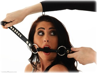 Bondage photo pic picture Sophie Star barefoot, bit gag, shackles, brunette, leg irons, chains, metal bondage, nude, ungagged