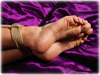 Bondage photo pic picture Tillie barefoot, rope bondage, bedroom, blonde, nude, ungagged