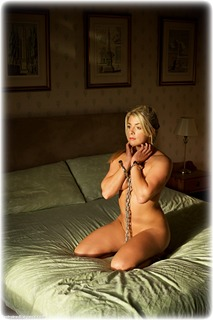 Bondage photo pic picture Tillie barefoot, bedroom, handcuffs, blonde, leg irons, chains, metal bondage, nude, ungagged