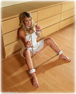 Bondage photo pic picture Tillie gag, barefoot, blonde, leather bondage, spreader bar, lingerie, dress, ungagged