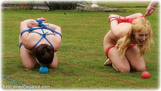 Bondage photo pic picture Amy Hunter, Ariel Anderssen and Roswell Ivory rope bondage, barefoot, slave training, nude, outdoor, ungagged, riding crop, frogtie