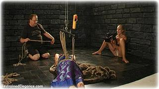 Bondage photo pic picture Amy Hunter and Ariel Anderssen rope bondage, barefoot, silk, suspension