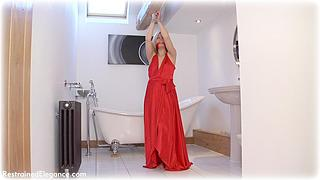 Bondage photo pic picture Amy Allen ballgown, rope bondage, barefoot, satin, cloth gag