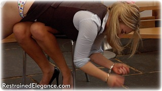 Bondage photo pic picture Amy Hunter and Sasha girlgirl, handcuffs, shoes, business wear, lesbian, spanking, lingerie, metal bondage, dress, ungagged