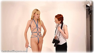 Bondage photo pic picture Anita deBauch and Ariel Anderssen ballgag, rope bondage, girlgirl, barefoot, satin, blouse, humiliation, silk, skirt, lingerie, nude, crotch rope, topless, ungagged