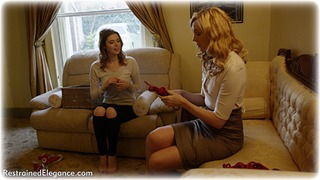 Bondage photo pic picture Aria Wednesday and Ariel Anderssen girlgirl, rope bondage, barefoot, blonde, jeans, brunette, lesbian, sweater