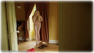 Bondage photo pic picture Ariel Anderssen barefoot, satin, blonde, shoes, blouse, humiliation, silk, business wear, lingerie, stockings, nude, pencil skirt, comedy